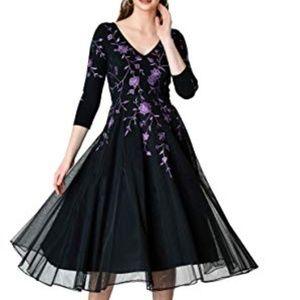 eShakti Black Purple Embroidered Dress Size 12